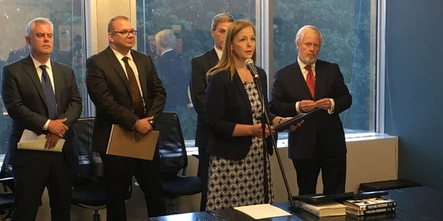 The leaders of conservative groups on Wednesday called for Senate Majority Leader Mitch McConnell to step down as leader. Pictured from left to right: David Bozell, Adam Brandon, Jenny Beth Martin, Ken Cuccinelli and Brent Bozell.