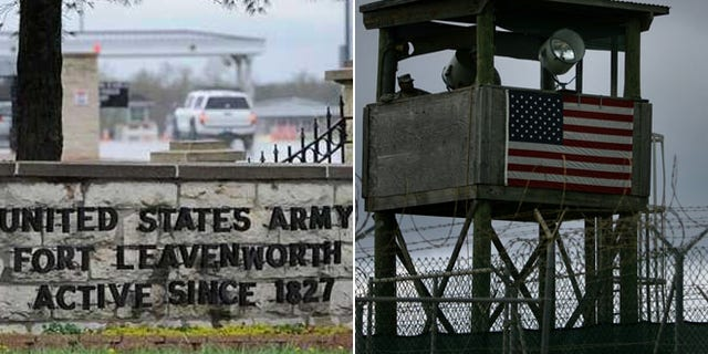 Shown at left, Fort Leavenworth; at right, Guantanamo Bay. (AP)