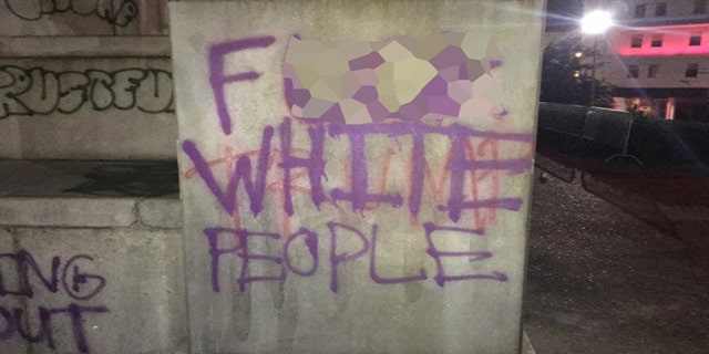 The Lee Memorial in New orleans was defaced during protests on Wednesday night.