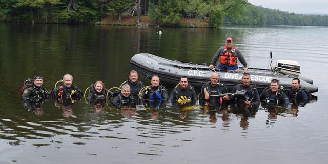 Team work: Divers were unsuccessful when first searching on Thursday, and again on Friday, but banded together with another fire department and several diving clubs Sunday to successfully find the limb