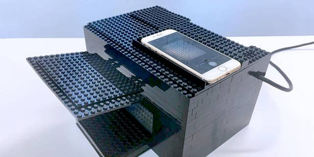 Researchers at the University of Texas at Austin have created a nerve gas detector using a smartphone, a box made of Legos and a chemical sensor. (University of Texas at Austin)