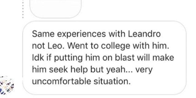 Sexual harassment allegation screenshots from Martinez's Instagram.