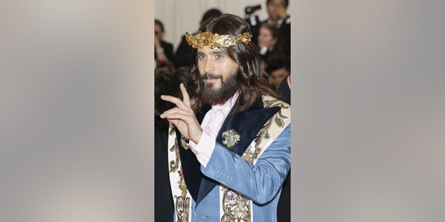 Actor Jared Leto mimics Jesus Christ in Gucci Met Gala outfit.