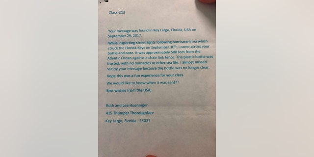 The Huennigers sent back a note to the school in Scotland.