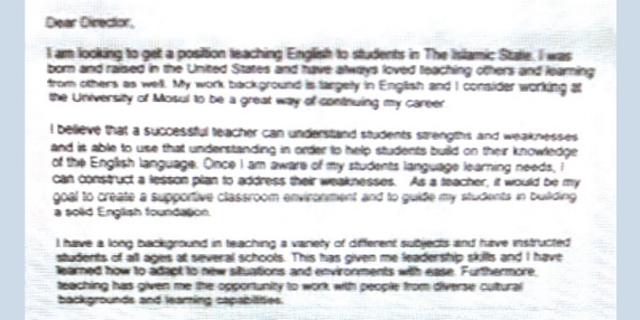 A cover letter sent by Warren Clark, using his jihadi name, to ISIS detailing his suitability for the role.