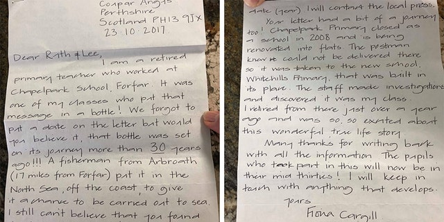 Retired Chapelpark teacher Fiona Cargill responded in a letter to the couple who found the message in a bottle.