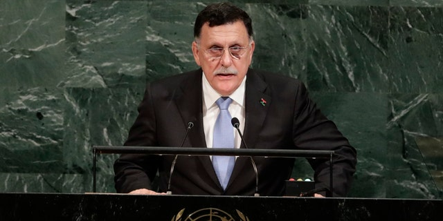 Libya's Prime Minister Fayez al-Sarraj addresses the United Nations General Assembly Wednesday, Sept. 20, 2017, at the United Nations headquarters. (AP Photo/Frank Franklin II)