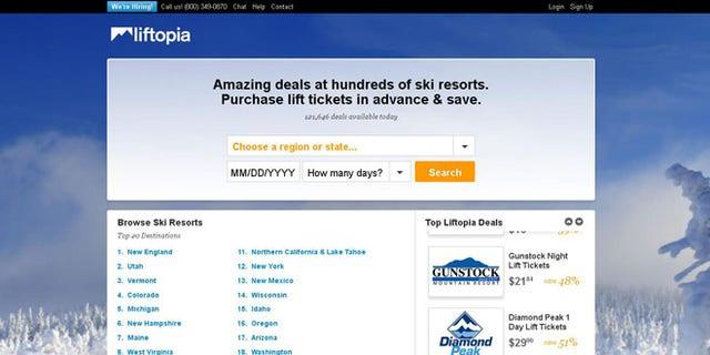 A screenshot of Liftopia.com