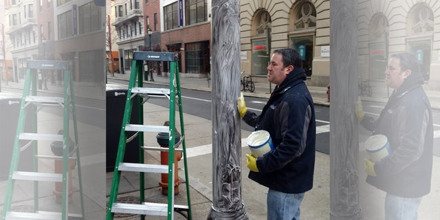 Crews in Philadelphia greased light poles with Crisco to prevent Eagles fans from climbing up after the NFC Championship Game.