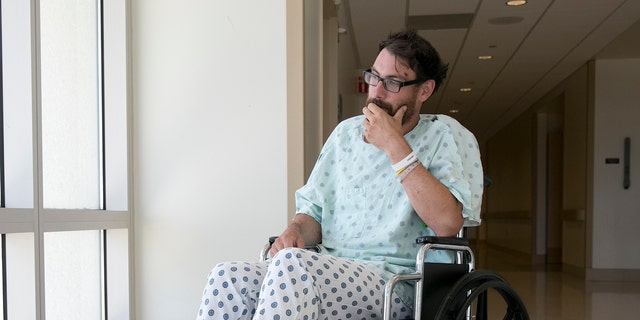 Mathias Steinhuber, of Innsbruck, Austria, who survived being struck by a lighting bolt, pauses while discussing the near-fatal event, Thursday, Aug. 24, 2017, in Sacramento, Calif.