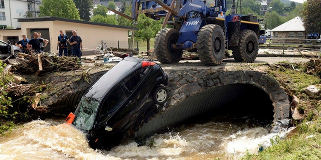 Germany and Western Europe has experienced heavy storms in recent days including flooding seen here in Herrstein, southern Germany.