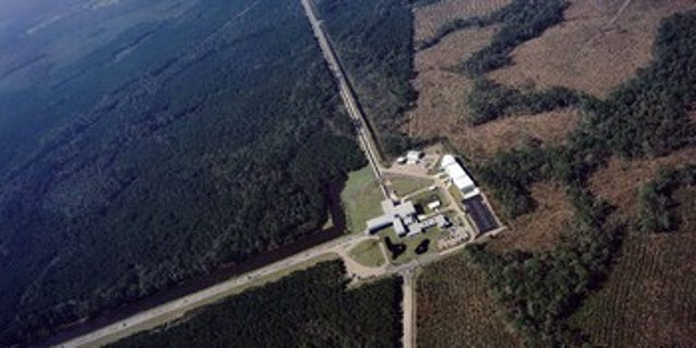 An aerial view of the Laser Interferometer Gravitational-wave Observatory (LIGO) detector in Livingston, Louisiana. LIGO has two detectors: one in Livingston and the other in Hanaford, Washington. LIGO is funded by NSF; Caltech and MIT conceived, built and operate the laboratories.
