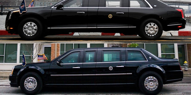 Trump's new limo (top) has a different style, but similar layout to the Obama-era vehicle (bottom) it replaces.