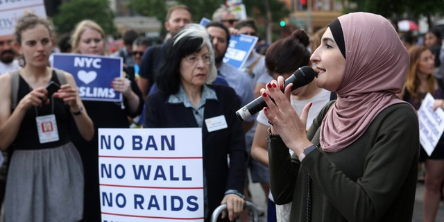 Linda Sarsour speaks at a rally protesting Trump's travel ban this past June in New York City.