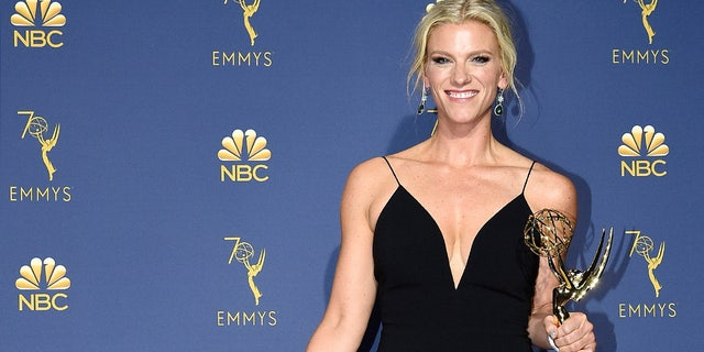 LOS ANGELES, CA - SEPTEMBER 17:  70th ANNUAL PRIMETIME EMMY AWARDS -- Pictured: Lindsay Shookus poses with Outstanding Variety Sketch Series award for 'Saturday Night Live' during the 70th Annual Primetime Emmy Awards held at the Microsoft Theater on September 17, 2018.  NUP_184223  (Photo by Kevork Djansezian/NBC/NBCU Photo Bank via Getty Images)