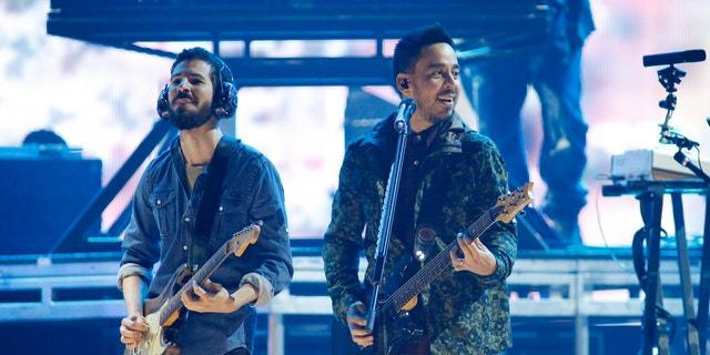 Linkin Park perform during 2012 iHeartRadio Music Festival in Las Vegas.
