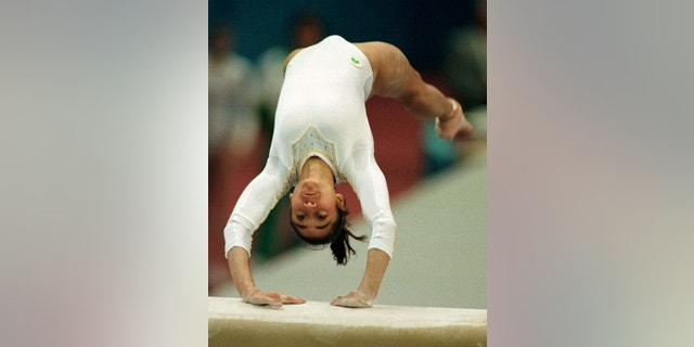 Lisa Skinner, of Australia, performs her vault exercise in 1997. She became a Cirque du Soleil performer and was injured during a performance in 2016.
