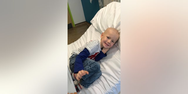 Before the transplant, three-year-old Ollie must go through two more rounds of chemotherapy.