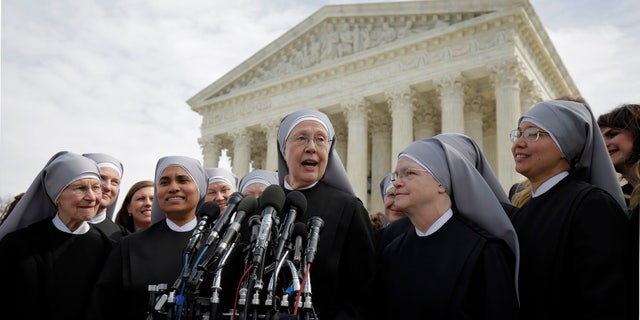 Little Sisters of the Poor outside the Supreme Court on March 23, 2016 after Zubik v. Burwell, an appeal brought by Christian groups demanding full exemption from the contraceptive mandate, was heard.