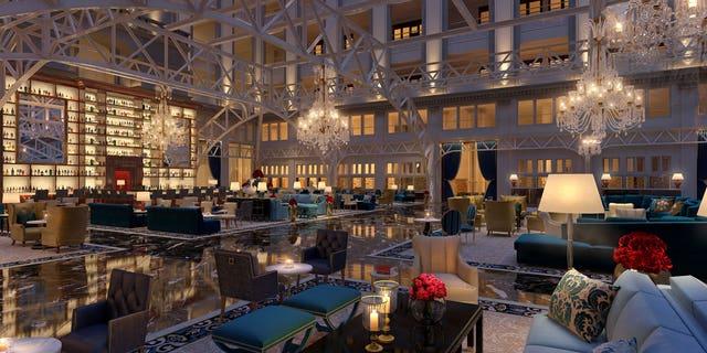 Inside the opulent lobby.