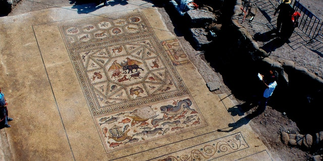 The Lod mosaic that was uncovered in 1996. (Photo: Niki Davidov, Israel Antiquities Authority)