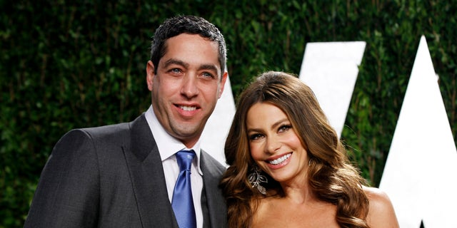 February 26, 2012. Actress Sofia Vergara and Nick Loeb arrive at the 2012 Vanity Fair Oscar party in West Hollywood, California.