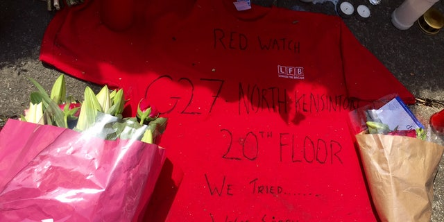 A memorial left for the victims of the London fire.