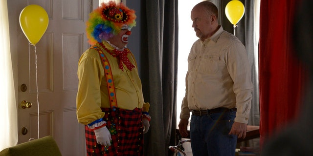"Bobby Moynihan (left) as the Clown and host Louis C.K. as Ernest during ""Saturday Night Live's"" ""Birthday Clown"" sketch on April 8, 2017."