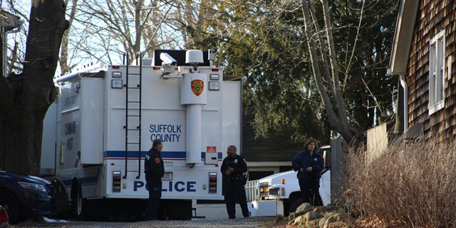 Suffolk Police at a home in Long Island's wine country where skeletal remains belonging to Louise Pietrewicz were found on March 19.
