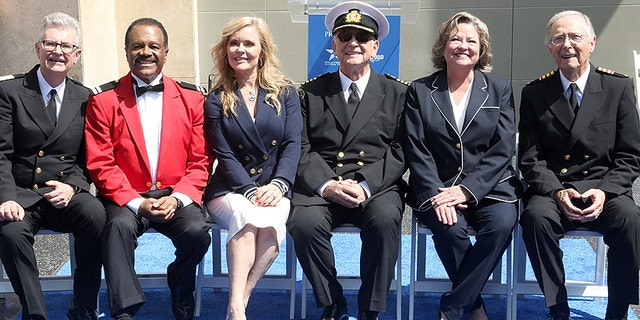 """""""The Love Boat"""" cast awaits the unveiling on their Hollywood Walk of Fame Star."""