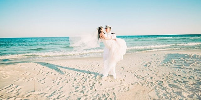 Rachel and Chandler Mills got married at Johnson Beach in Pensacola, Florida, on Sunday, May 14, 2017.