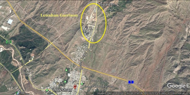 This satellite photo shows the location of Lowshan Garrison in Iran