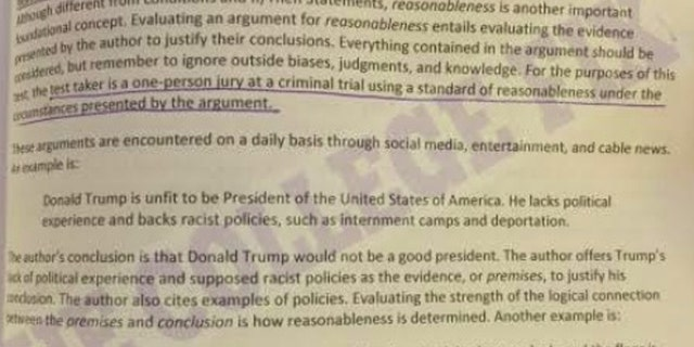 "An LSAT test prep example labeled President Trump a ""racist"" who supports ""internment camps."""