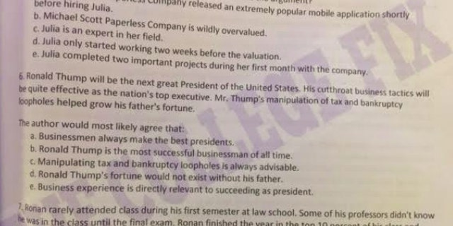 An LSAT test prep refers to President Trump manipulating tax and bankruptcy loopholes to grow his father's fortune.