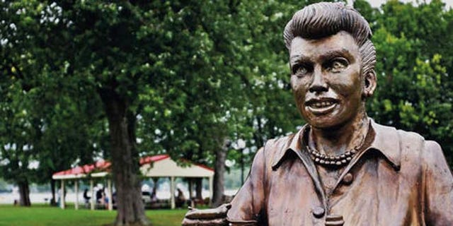 """The new statue of Lucille Ball replaces this one that was so hated it was dubbed """"Scary Lucy.""""  (The Post-Journal via AP)"""