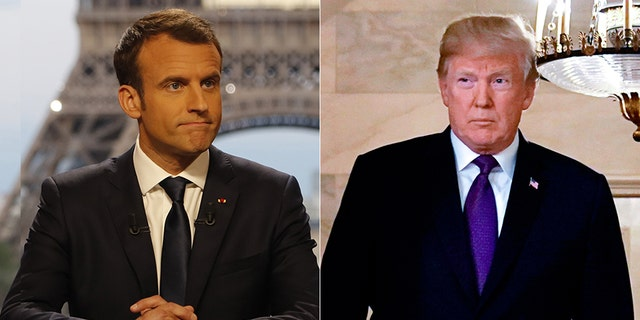 """French President Emmanuel Macron, left, said on Sunday: """"Ten days ago, President Trump wanted to withdraw from Syria. We convinced him to remain."""""""