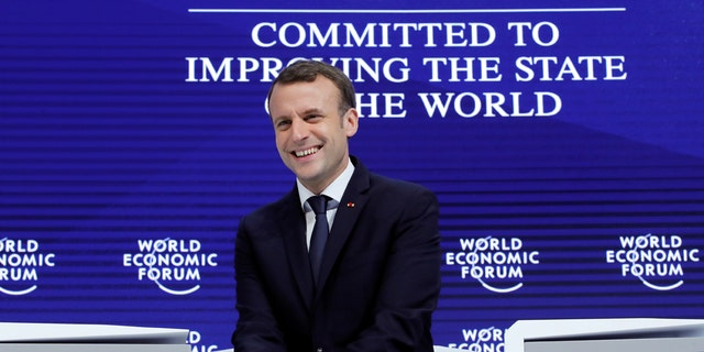 French President Emmanuel Macron is seen at the World Economic Forum in Davos, Switzerland.