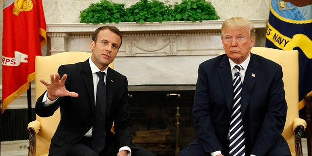 French President Emanuel Macron, left, will reportedly confront President Trump, right, at the G-7 summit over new tariffs.