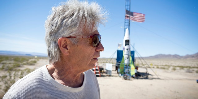 "March 6, 2018: ""Mad"" Mike Hughes reacts after the decision to scrub another launch attempt of his rocket near Amboy, California."