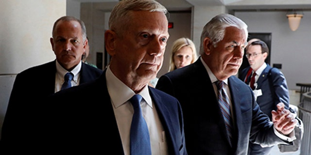 Secretary of Defense James Mattis and Secretary of State Rex Tillerson arrive to brief the Senate Foreign Relations Committee on the ongoing fight against the Islamic State on Capitol Hill in Washington, U.S., August 2, 2017. REUTERS/Aaron P. Bernstein     TPX IMAGES OF THE DAY - RTS1A5VO