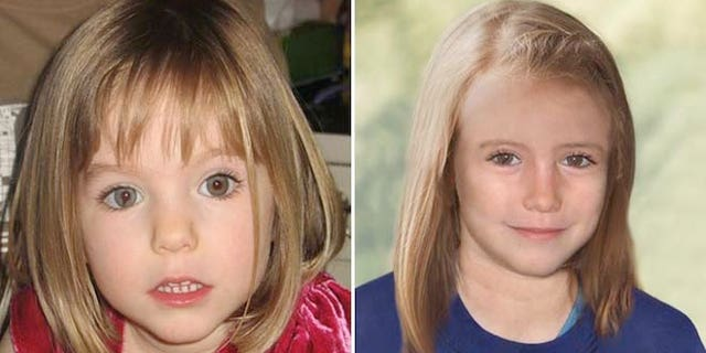 McCann, left, was three years old when she disappeared in 2007. The age-progressed image, right, shows what McCann might have looked like at age nine.