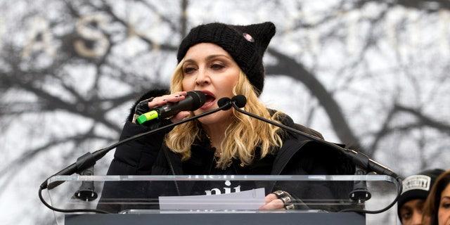 Madonna speaks during the Women's March on Washington, Saturday, Jan. 21, 2017, in Washington. (AP Photo/Jose Luis Magana)