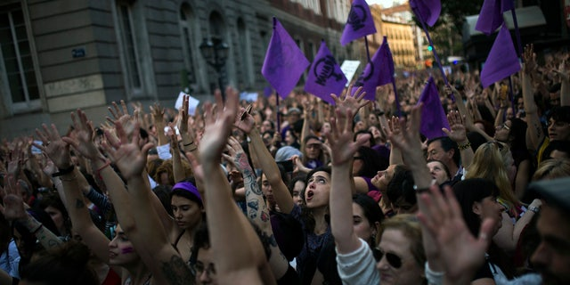 Thousands of protesters rallied outside the Justice Ministry in Madrid.