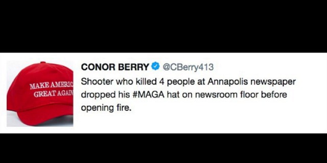 "Conor Berry, who worked for the Springfield, Massachusetts paper, The Republican, said his tweet was meant to be a ""snarky, sarcastic, cynical remark."""