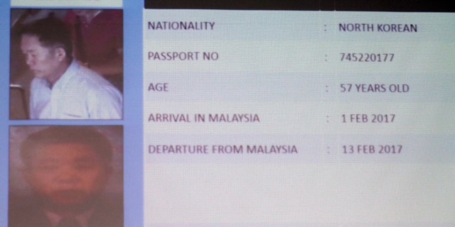 Information about one of the suspects North Korean Ri Jae Nam, is displayed during a press conference by Malaysia Deputy National Police Chief Noor Rashid Ibrahim, not show, at the Bukit Aman national police headquarters in Kuala Lumpur, Malaysia, Sunday, Feb. 19, 2017. Malaysia's police are looking for four more North Korean suspects who they say left the country the same day the North Korean leader's brother died after being attacked at the Kuala Lumpur airport. (AP Photo/Vincent Thian)