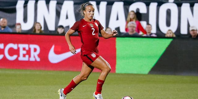 FRISCO, TX - APRIL 06: U.S. Women's National Soccer Midfielder Mallory Pugh (2) brings the ball into the box during the international friendly soccer match between the United States Women's National team and Russian National team on April 6, 2017 at Toyota Stadium in Frisco, TX. The United States defeated Russia 4-0. (Photo by Andrew Dieb/Icon Sportswire) (Icon Sportswire via AP Images)