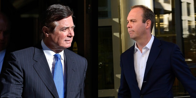 Paul Manafort, left, was charged with obstructing justice. His associate, Rick Gates, right, has also been charged in Mueller's probe, but has pleaded guilty. He is said to be cooperating with the special counsel's office.