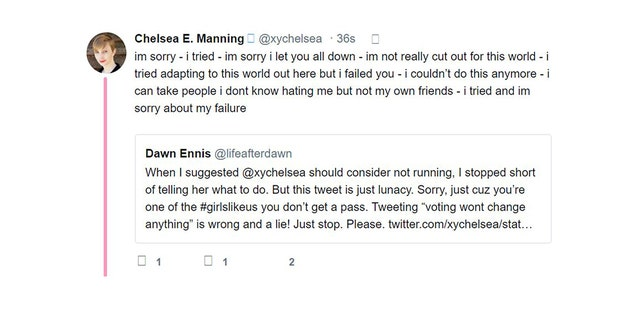 One of the alarming messages posted by Chelsea Manning on Twitter.