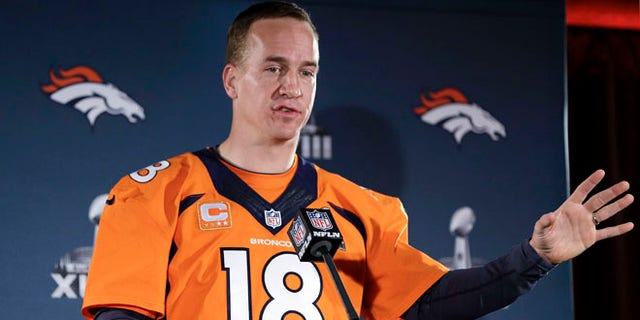 Jan 30, 2014: Denver Broncos quarterback Peyton Manning talks with reporters during a news conference in Jersey City, N.J.