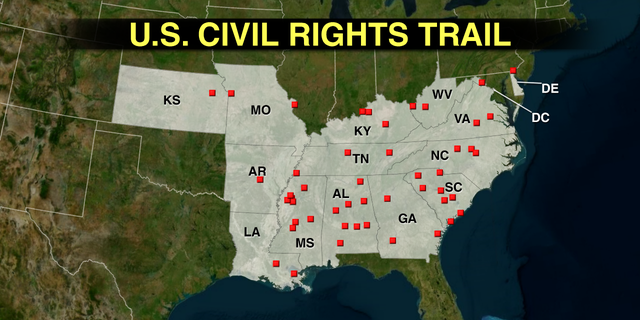 There are 110 sites on the U.S. Civil Rights Trail, touching 14 states and Washington D.C. Officials expect the list to expand over time. (Fox News)